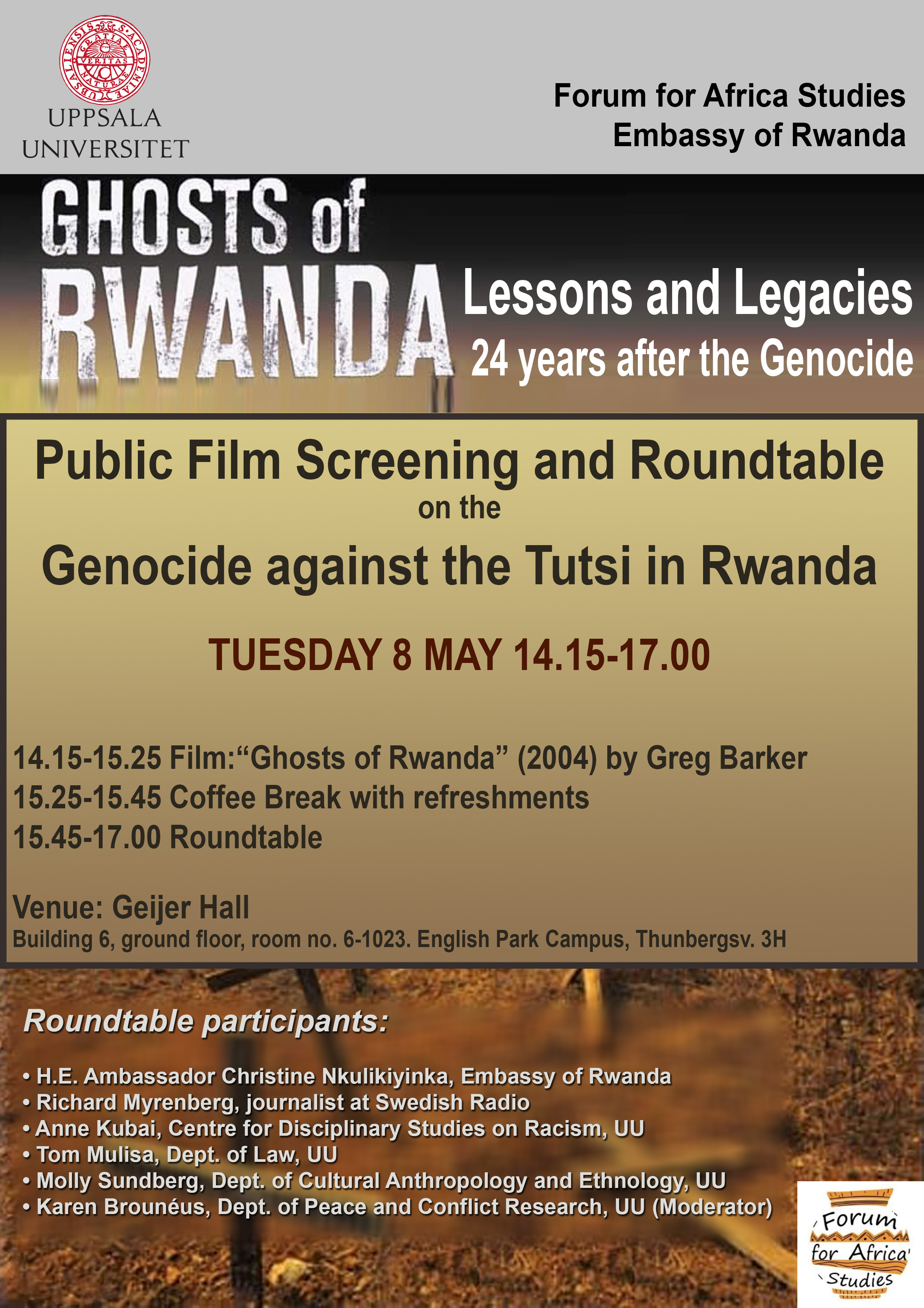 Public Film Screening and Roundtable on the Genocide in Rwanda 8 May